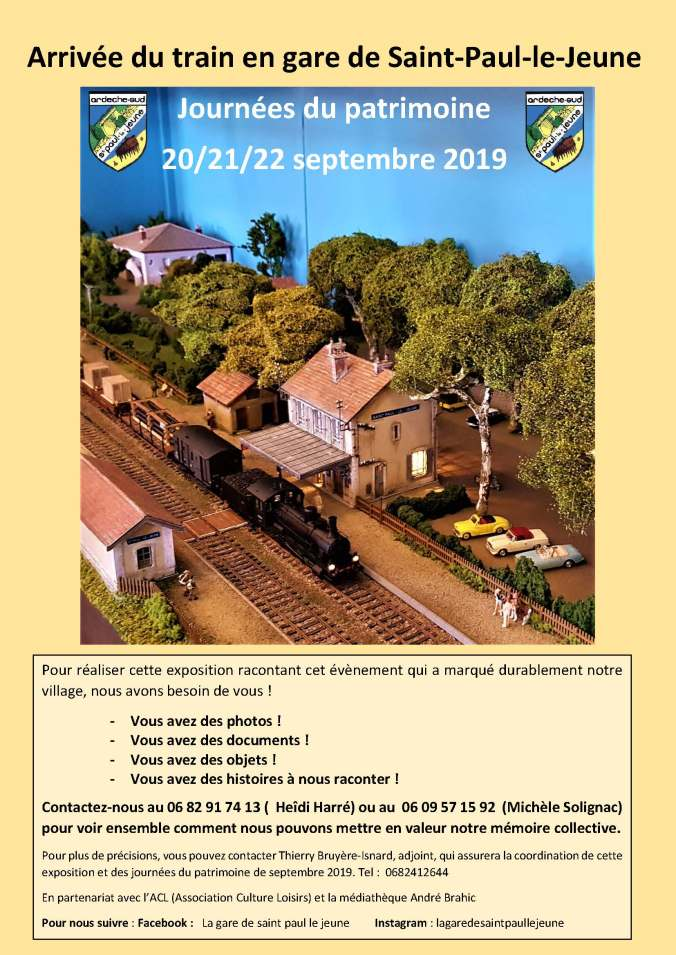 Appel à contribution exposition,Arrivée du train en gare de St Paul le Jeune. septembre 2019