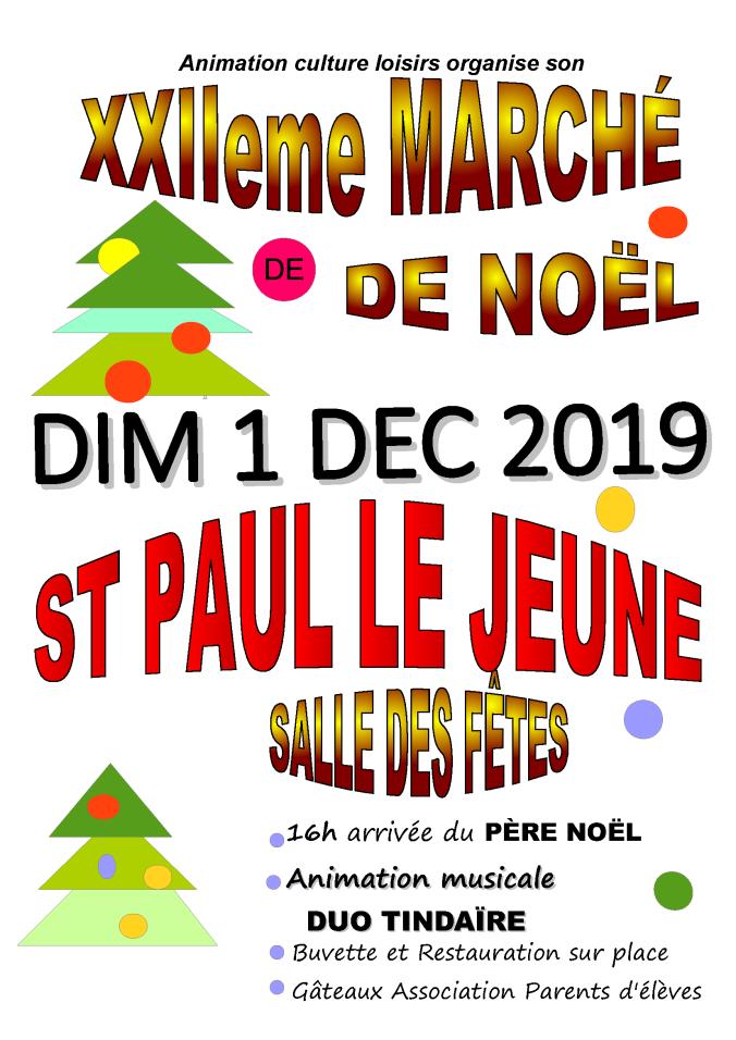affiche marché de Noel 1er Décembre 2019